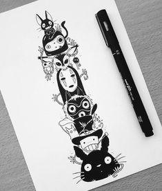 Ghibli tattoo commission by Tatuaje Studio Ghibli, Studio Ghibli Tattoo, Studio Ghibli Art, Tattoo Studio, Neue Tattoos, Bild Tattoos, Body Art Tattoos, Tattoo Geek, Art Sketches