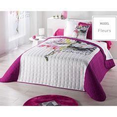 Dizajnérske prešívané bielo fialové prikrývky na dvojposteľ v orchideami Comforters, Blanket, Bed, House, Furniture, Design, Home Decor, Christmas, Bedding