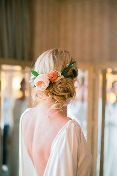 Wedding day updo with peonies