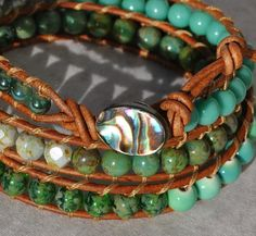 Aqua and Mint 3X Leather Wrap with Abalone Button Coastal Bracelet - by SeaSide Strands