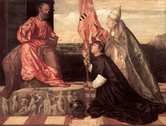 Titian's Alexander presents Jacopo Pesaro to Saint Peter. The figure in this painting is sometimes incorrectly identified as Giovanni Sforza, Lucrezia Borgia's first husband and Lord of Pesaro.
