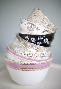 pink, gold and black vintage sugar bowls