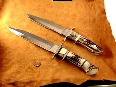 You can see the stag on top is a smaller knife than the crown stag hidden pin Big Bear. RW Loveless made the Crown BB in 1970.  #loveless #famousknives #fighter #dagger #bigbear  #bobloveless #johndenton #customknives #tactical #knifecollecting #handmadeknives #droppointhunter #bootknife #semiskinner #stevejohnson #jimmerritt #r.w.loveless #boblovelessbook #knifecollectorsbook #customknives #custom #tactical  #guncollecting #michealwalker #investment #ferrari #rolex Collector Knives, Boot Knife, Vintage Bob, Loveless, Handmade Knives, Big Bear, Custom Knives, Ferrari, Buy And Sell
