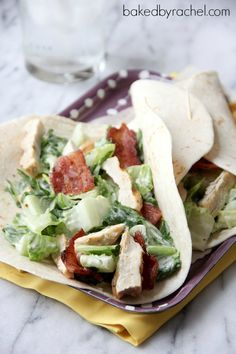 Chicken Caesar Salad Wraps with Bacon