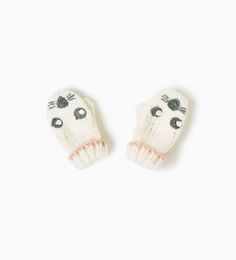 ZARA - KIDS - EMBROIDERED ANIMAL FACE MITTENS