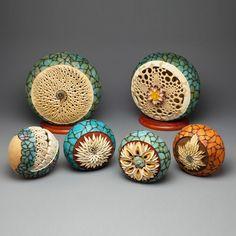 Gourd Art delicate filigree dremel power carved gourd dyed painted ornament fine art gourd