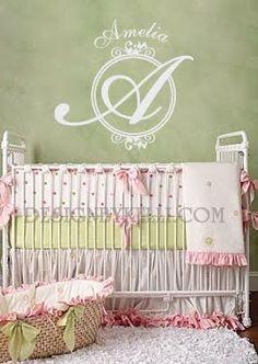 Beautiful monogram in nursery~ http://www.designbykelli.blogspot.com/