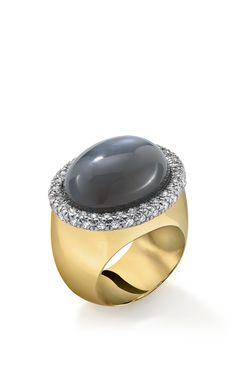 18K Yellow Gold Moonstone And Diamond Gabriella Ring by Faraone Mennella for Preorder on Moda Operandi