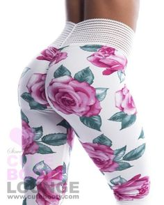 Fabric Colors: Black or White with Lilac Pink Roses Fabric: Super Soft Brushed Jersey Cute Leggings, Girls In Leggings, Tight Leggings, Workout Leggings, Workout Gear, Spanx Faux Leather Leggings, Seamless Leggings, Gym Style, Floral Pants