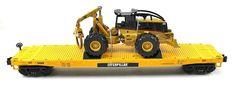 O MTH Electric Trains Cat Caterpillar Flat Car w 545 Grapple Skidder 20 98357   eBay