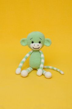 Crochet Monkey Toy Gift Amigurumi Crochet Animal Crochet Toy Kids Christmas Gift  birthday Wool Green Brown Monkey