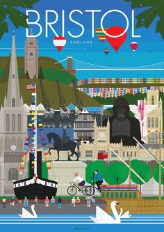 An illustrated poster celebrating what makes Bristol, England oh so special!  Designed by locals this poster showcases many of the fantastic and stunning locations and activities that makes Bristol a great city. Included are the iconic Clifton suspension bridge, world famous hot air balloons, the stunning colourful houses, Alfred the Gorilla, The SS Great Britain, Banksy's Angel Statue and many well know Bristol landmarks. Only £10.