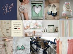 I'm in love with this color palette - navy, mint, pale pink/light coral, and gold