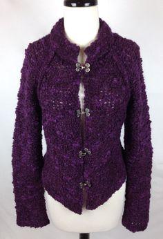 CoVelo Sweater Womens Purple Wool Long Sleeve Cardigan M #Covelo #Cardigan