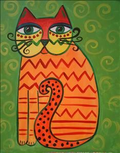 Big Eyed Cat - Murray, UT Painting Class - Painting with a Twist