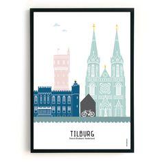Poster Tilburg in kleur - MevrouwEmmer. Skyline, City, Travel, Instagram, Paintings, Illustrations, Signs, School, Garden