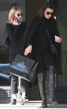 Emma Roberts & Lea Michele from The Big Picture  The Scream Queen co-stars are spotted enjoying some retail therapy at Barneys New York after attending a funeral earlier today in Los Angeles.