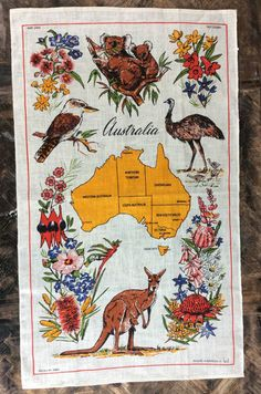 Vintage Australia Fabric or Kitchen Towel with Map by princeangie Dish Towels, Tea Towels, Signature Design, Kitchen Towels, Vintage Kitchen, Rooster, Moose Art, Cross Stitch, Map
