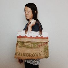 Hand Stitched Burlap Coffee Bag Tote by MadisanosMakings on Etsy
