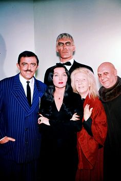 Ted Cassidy as Lurch, John Astin as Gomez, Carolyn Jones as Morticia, and Blossom Rock as Grandmama in The Addams Family
