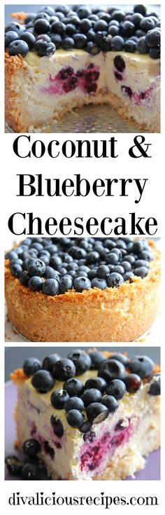 This coconut and blueberry cheesecake has a crust that is made with coconut instead of a low carb flour or biscuit. It looks too good to eat! Recipe: http://divaliciousrecipes.com/2013/08/20/coconut-and-blueberry-cheesecake/