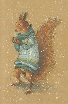 VERY RARE Squirrel in sweater with mug by Lia Selina Russian modern postcard Illustration Inspiration, Illustration Noel, Winter Illustration, Christmas Illustration, Watercolor Illustration, Baby Drawing, Christmas Drawing, Noel Christmas, Christmas Ideas