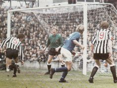 8th September 1970. Newcastle United goalkeeper Liam McFaul is rooted to floor when his captain Bobby Moncur heads in to his own net against Bristol Rovers, in a League Cup 2nd Round tie.