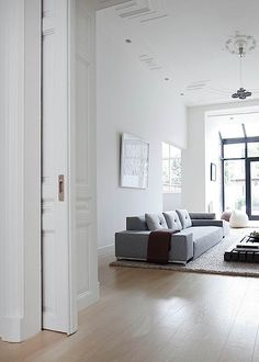 Remy Meijers, apartment in the Hague, Netherlands grey sofa white walls wooden flooring spacious throw neutral
