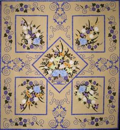 Villa des Fleur by Linda Price    -- Quilting by Clare Fairless