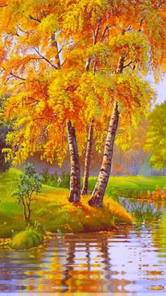 Painting tree reflections … yes … - Painting Scenery Pictures, Fall Pictures, Pictures To Paint, Nature Pictures, Beautiful Nature Wallpaper, Beautiful Landscapes, Peacock Wall Art, Autumn Scenes, Nature Gif