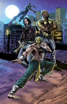 Defenders, by Eric Jimenez. Final digital colors on my Defenders piece! I… - Visit to grab an amazing super hero shirt now on sal Marvel Comic Universe, Marvel Comics Art, Comics Universe, Marvel Cinematic Universe, Comic Movies, Comic Book Characters, Marvel Characters, Netflix Movies, Luke Cage