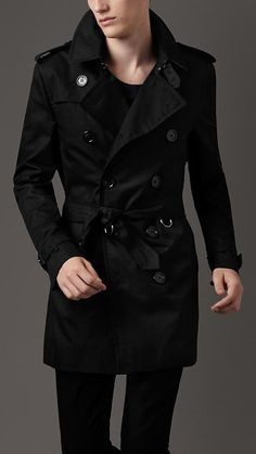 Black is such a classy look; very mysterious, and easy to pull off / Burberry Mid-Length Technical Cotton Trench Coat / Fancy