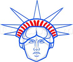 how to draw statue of liberty face step 9