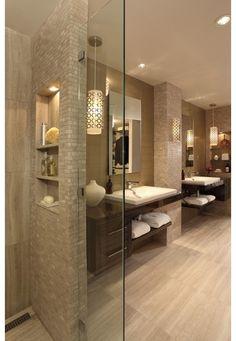 Golden bathroom theme with matching hardwood floors-Home and Garden Design Ideas