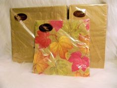 Caspari Napkin Lot of 3 Gold and Falling Leaves 3 Ply Germany Thanksgiving Fall #Caspari