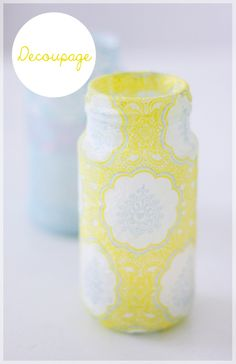 Decoupage glass jars