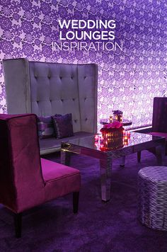 A glamorous lounge setup with purple and gray velvet seating on all four sides gives an open, yet intimate feel.