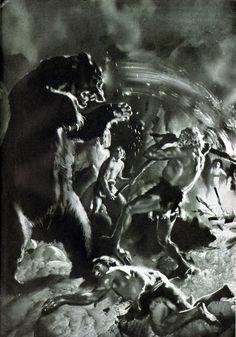 Neanderthals fight off Cave Bear    Art by Zdenek Burian