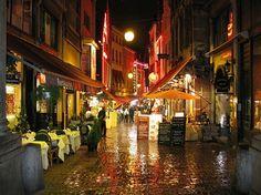 Rue des Bouchers - Brussels  Eat at Chez Leon and try their mussels & frites..Brussels Mussels are the best!