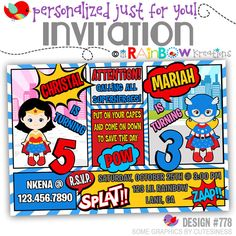 778: DIY - Super Hero 23 Party Invitation Or Thank You Card