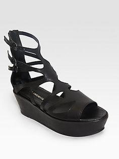 Ann Demeulemeester Cutout Leather Ankle Strap Platform Sandals