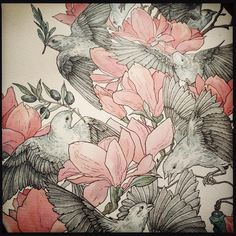 For N.#art#graphic#watercolor#magnolia#birds