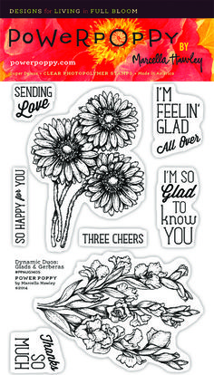 Power Poppy DYNAMIC DUOS GLADS AND GERBERAS Clear Stamp Set PPJUL1401