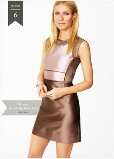 Gwyneth Paltrow in VICTORIA, VICTORIA BECKHAM Silk-organza paneled mikado dress, $1,393  #want