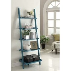 """Carlisle 72"""" Leaning Bookcase by Charlton Home, Blue Char..."""