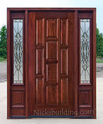 10 Panel With N75 Sidelites Sierra Zinc Glass Exterior Doors Mahogany Exterior Doors Exterior Doors With Sidelights