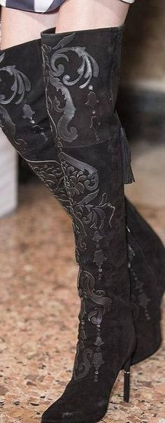 Emilio Pucci Fall 2013 ♥✤ | Keep the Glamour | BeStayBeautiful, black velvet thigh high boots