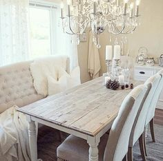 Love this table! Chairs with bench seating.