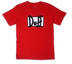 Duff Logo - Duff Beer - Simpsons T-shirt: Adult XL - Red