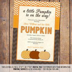 pumpkin baby shower invitation fall baby by JoyPribishDesigns, $15.00